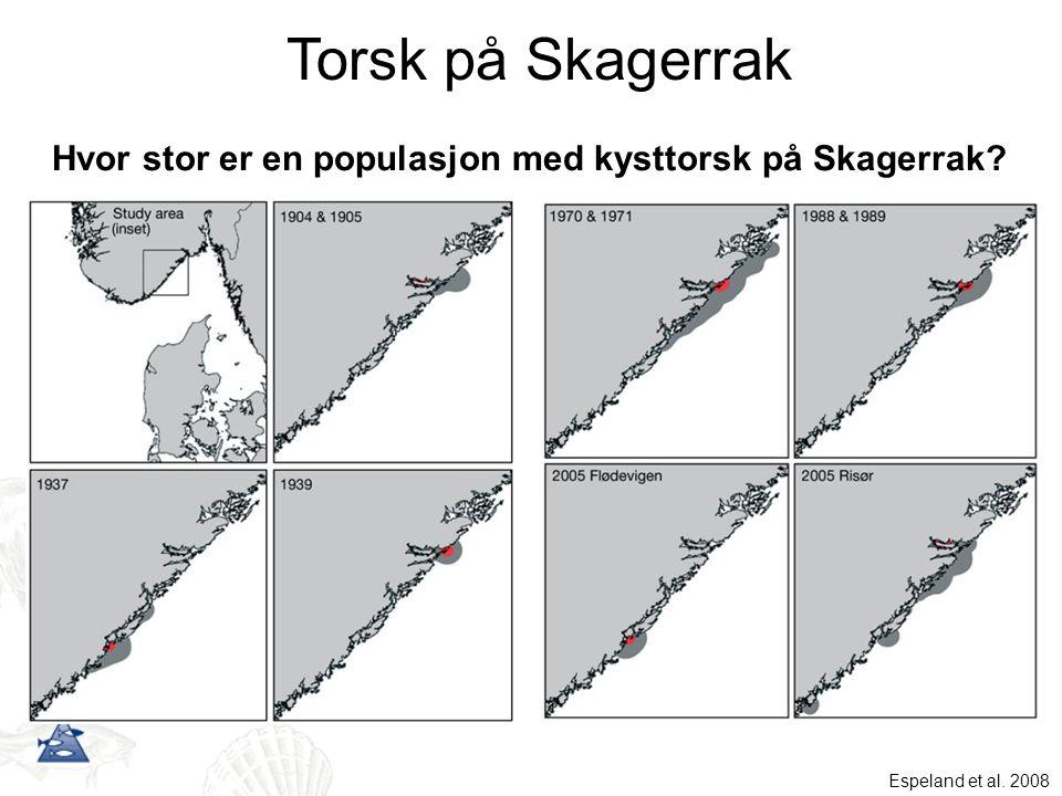 Hvor stor er en populasjon med kysttorsk på Skagerrak