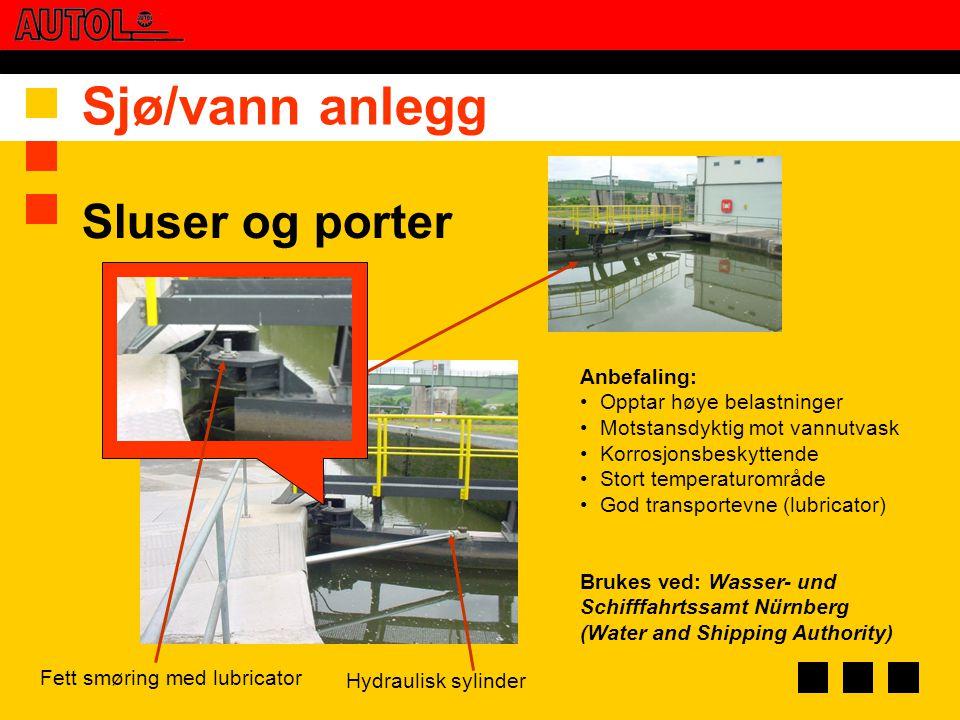 Sjø/vann anlegg Sluser og porter Anbefaling: Opptar høye belastninger