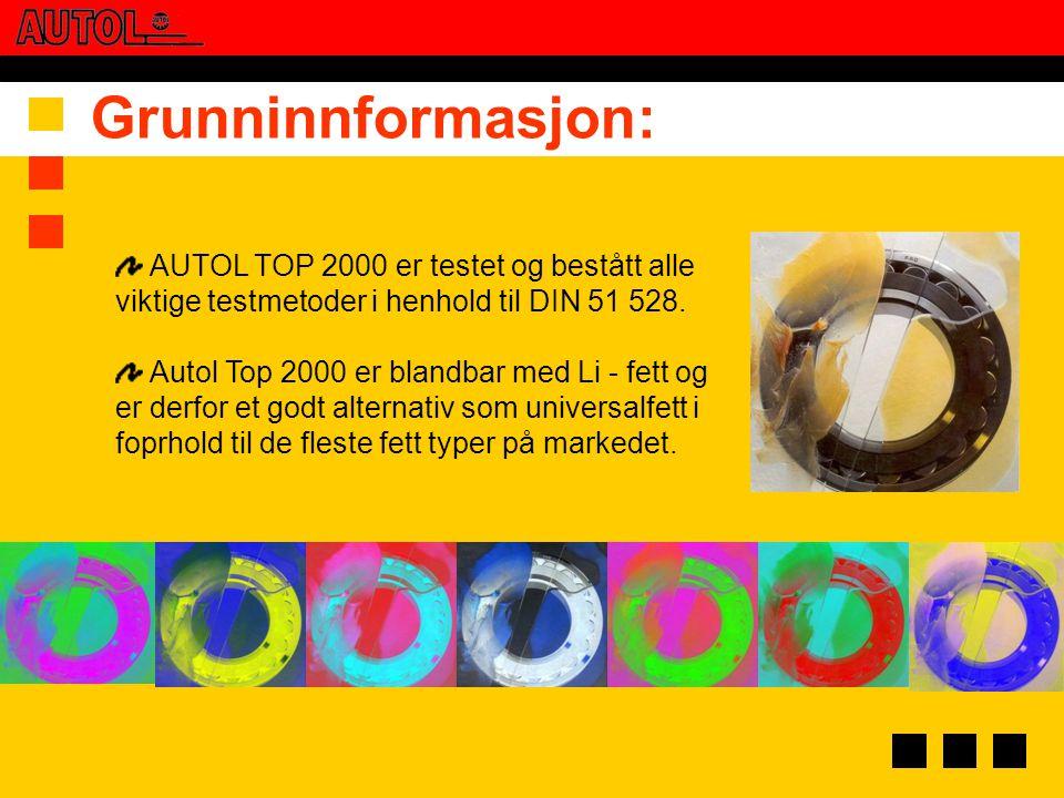 Grunninnformasjon: AUTOL TOP 2000 er testet og bestått alle viktige testmetoder i henhold til DIN 51 528.
