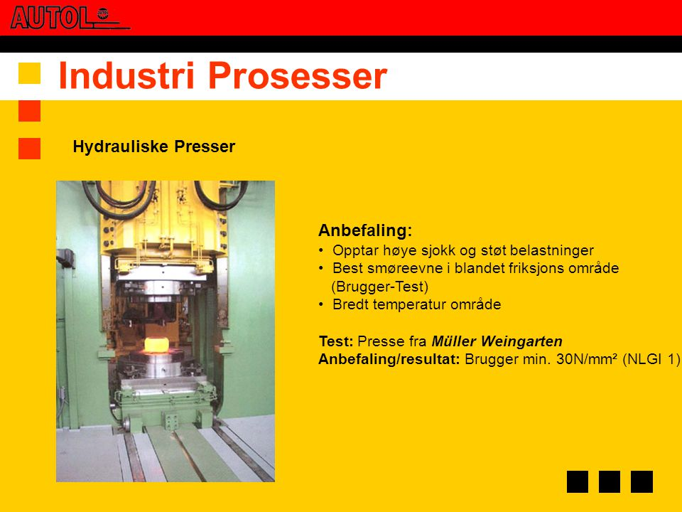 Industri Prosesser Hydrauliske Presser Anbefaling: