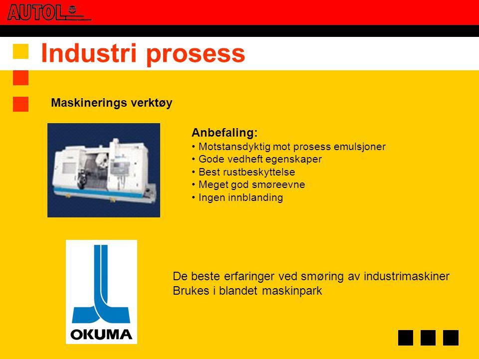 Industri prosess Maskinerings verktøy Anbefaling: