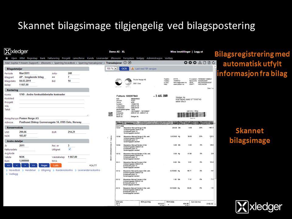 Bilagsregistrering med automatisk utfylt informasjon fra bilag