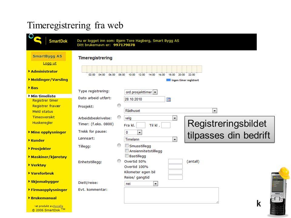 Timeregistrering fra web