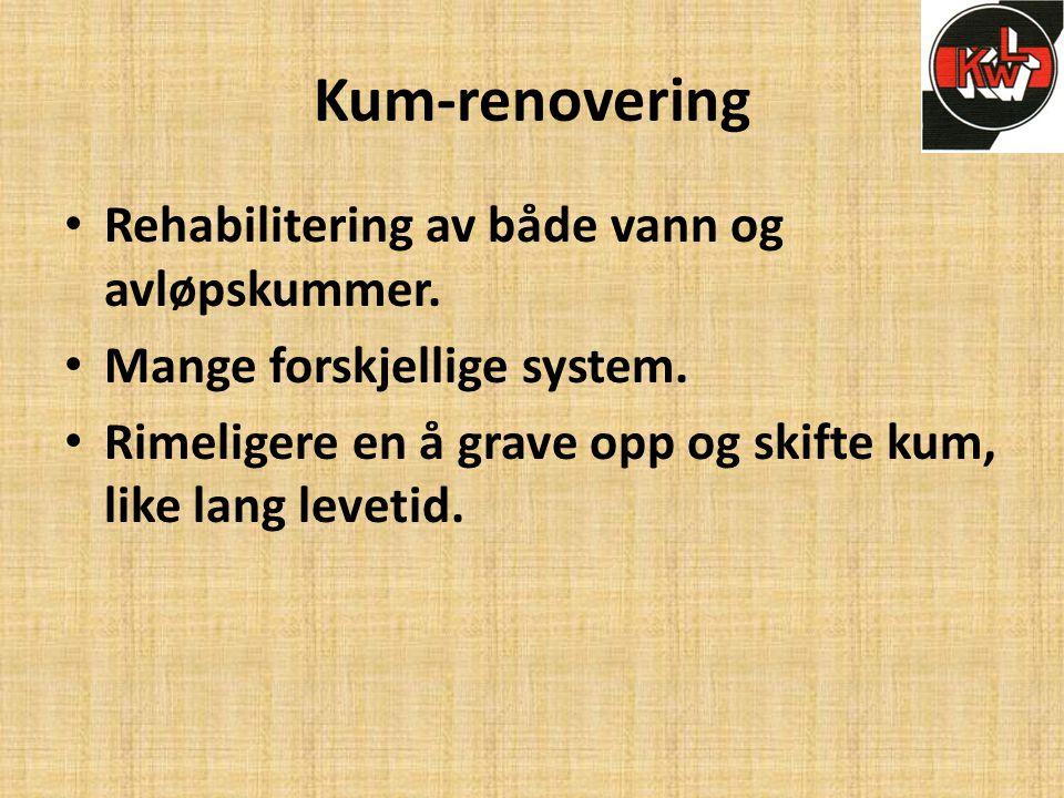 Kum-renovering Rehabilitering av både vann og avløpskummer.