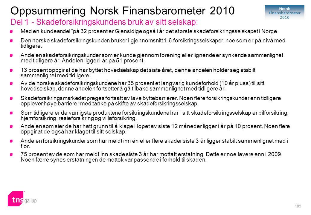 Oppsummering Norsk Finansbarometer 2010 Del 1 - Skadeforsikringskundens bruk av sitt selskap: