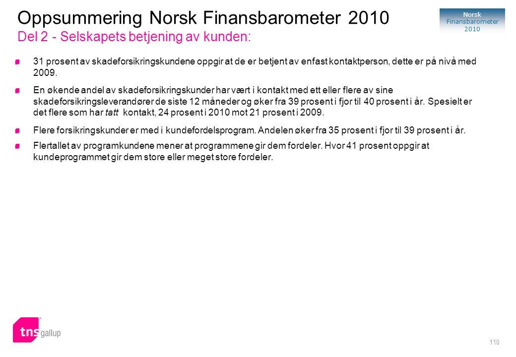 Oppsummering Norsk Finansbarometer 2010 Del 2 - Selskapets betjening av kunden: