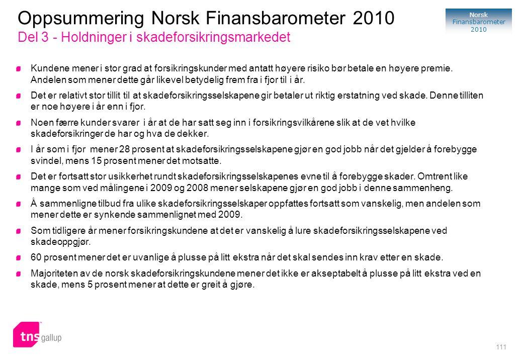 Oppsummering Norsk Finansbarometer 2010 Del 3 - Holdninger i skadeforsikringsmarkedet