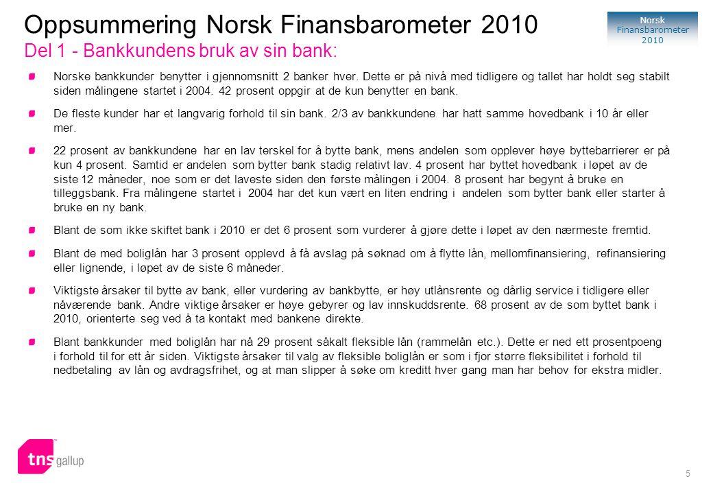 Oppsummering Norsk Finansbarometer 2010 Del 1 - Bankkundens bruk av sin bank: