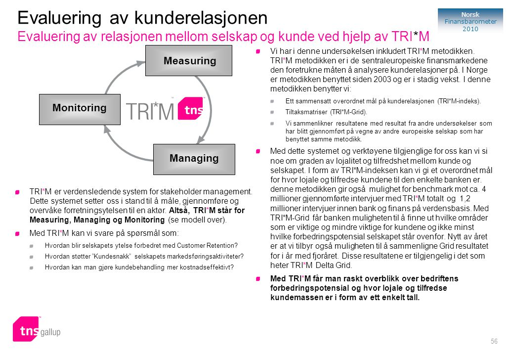 Evaluering av kunderelasjonen Evaluering av relasjonen mellom selskap og kunde ved hjelp av TRI*M