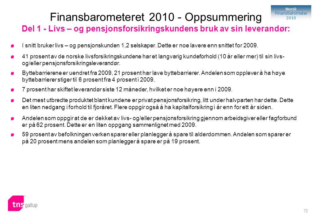 Finansbarometeret 2010 - Oppsummering Del 1 - Livs – og pensjonsforsikringskundens bruk av sin leverandør: