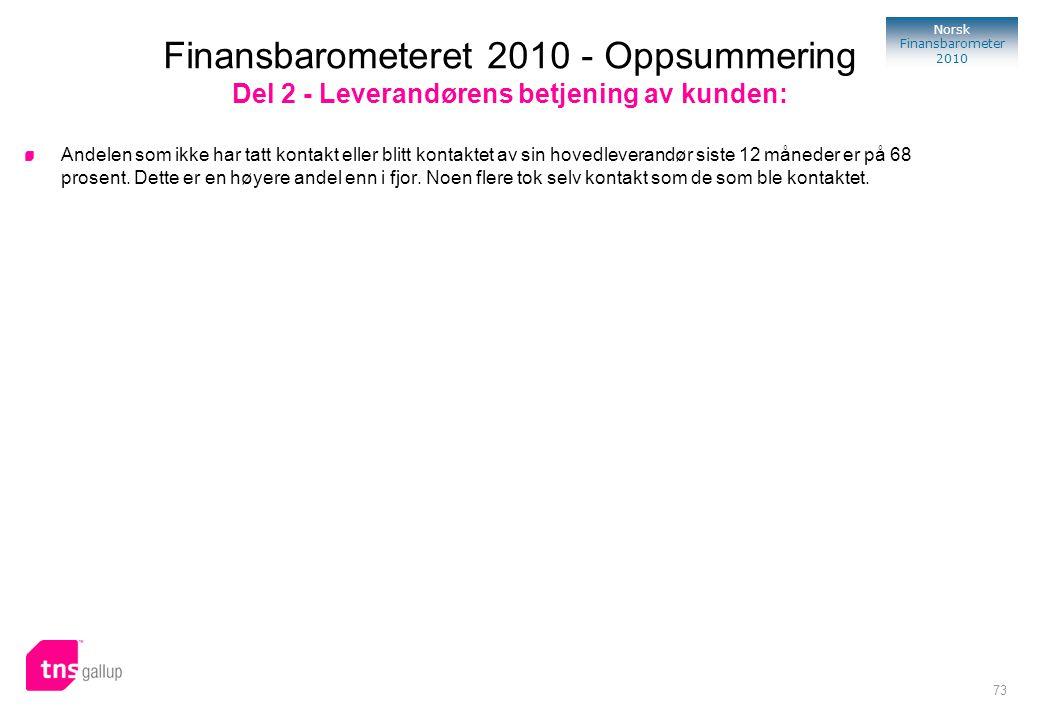 Finansbarometeret 2010 - Oppsummering Del 2 - Leverandørens betjening av kunden: