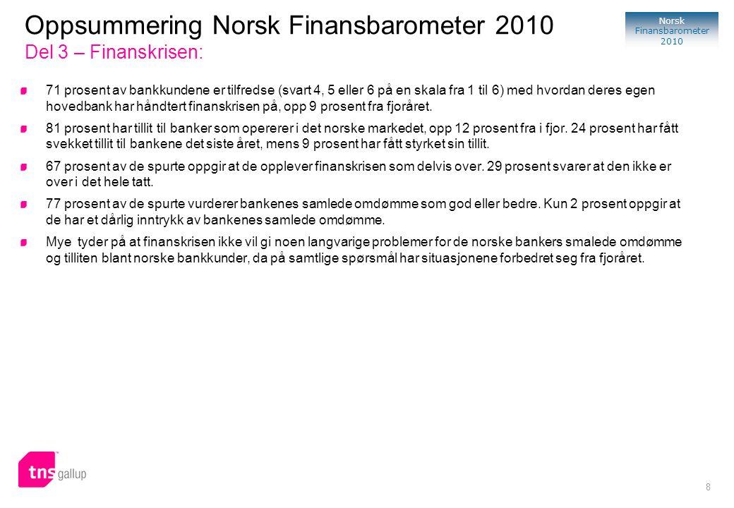 Oppsummering Norsk Finansbarometer 2010 Del 3 – Finanskrisen: