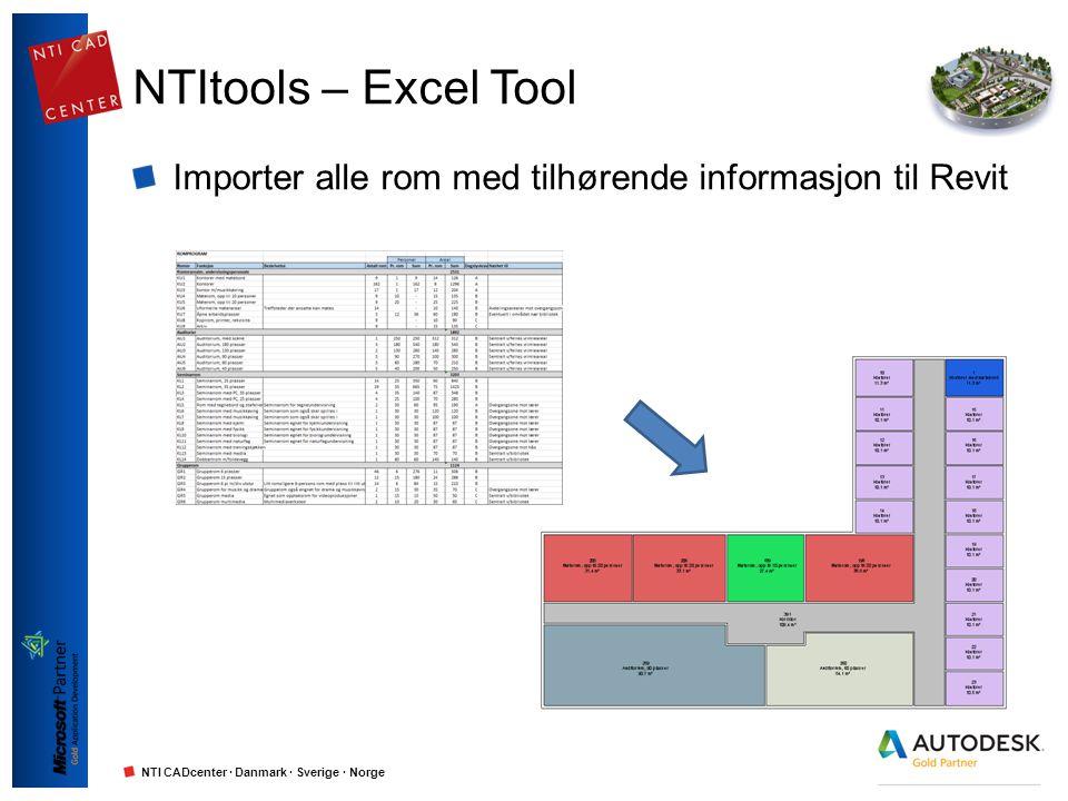 NTItools – Excel Tool Importer alle rom med tilhørende informasjon til Revit