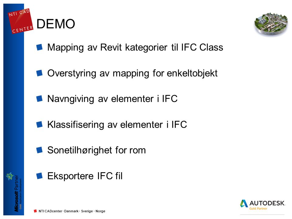 DEMO Mapping av Revit kategorier til IFC Class