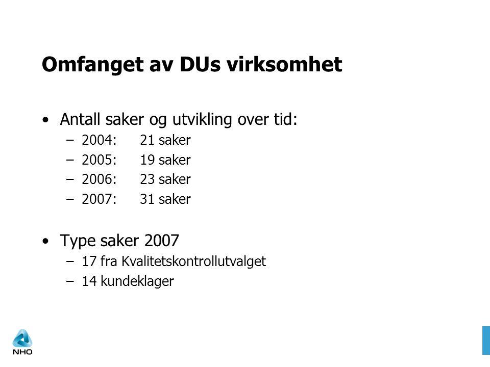 Omfanget av DUs virksomhet