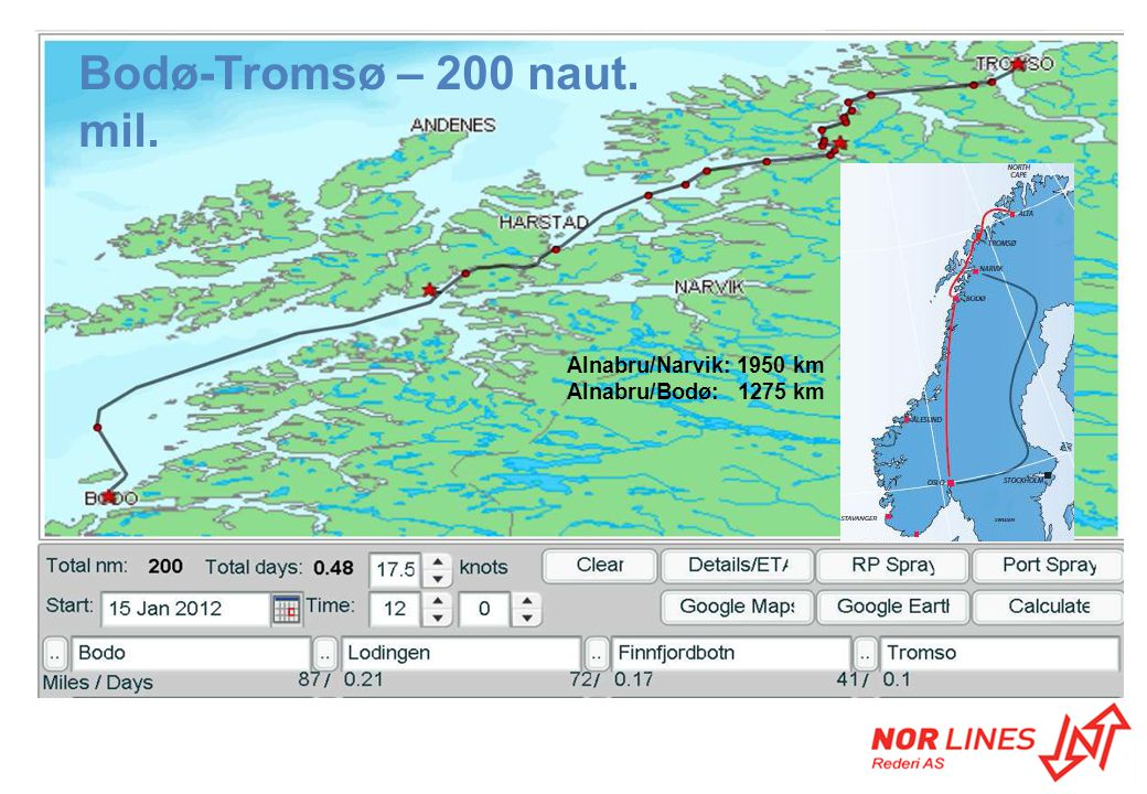 Bodø-Tromsø – 200 naut. mil. Alnabru/Narvik: 1950 km