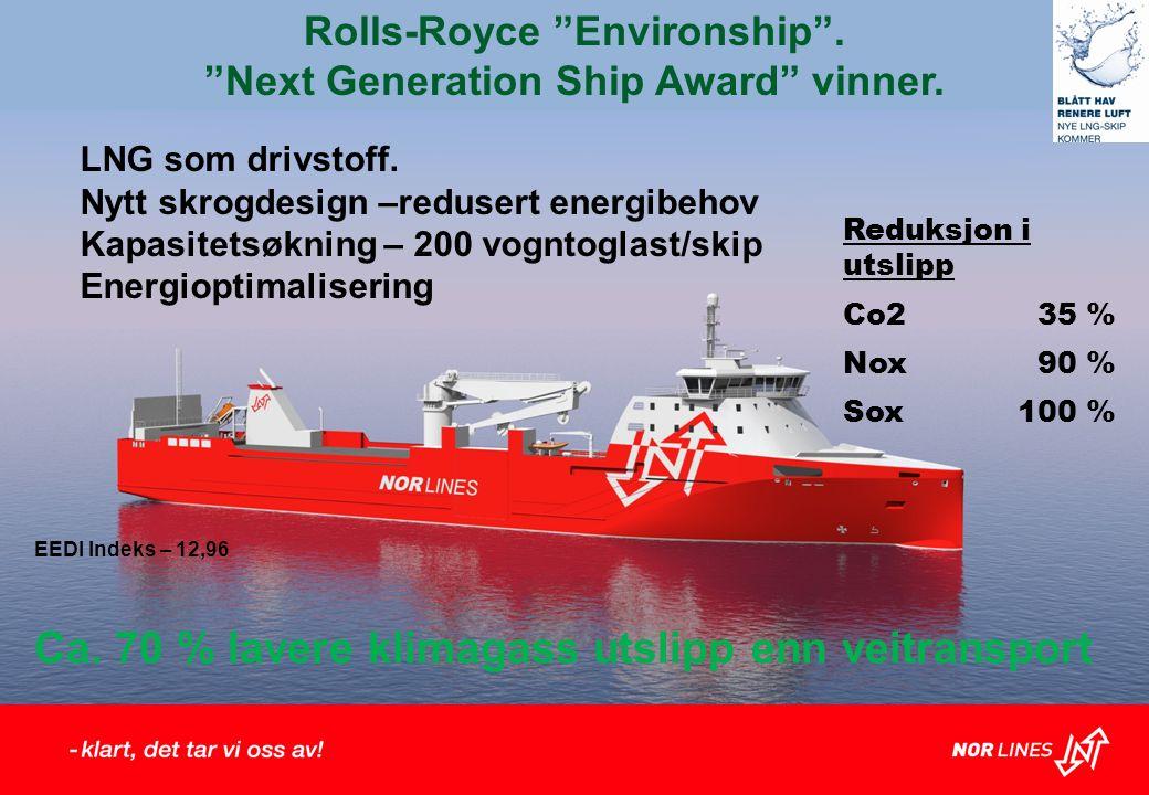 Rolls-Royce Environship . Next Generation Ship Award vinner.