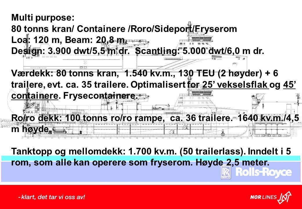 Multi purpose: 80 tonns kran/ Containere /Roro/Sideport/Fryserom. Loa: 120 m, Beam: 20,8 m,