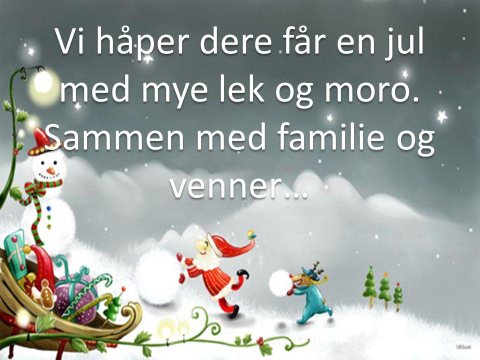 Vi håper dere får en jul med mye lek og moro