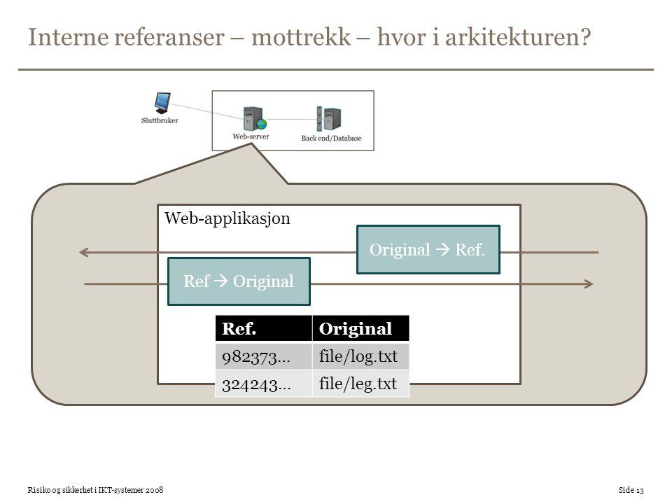 Interne referanser – mottrekk – hvor i arkitekturen