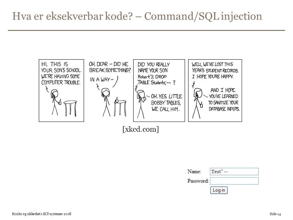 Hva er eksekverbar kode – Command/SQL injection