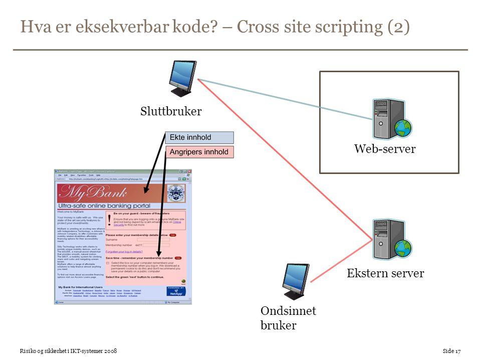 Hva er eksekverbar kode – Cross site scripting (2)