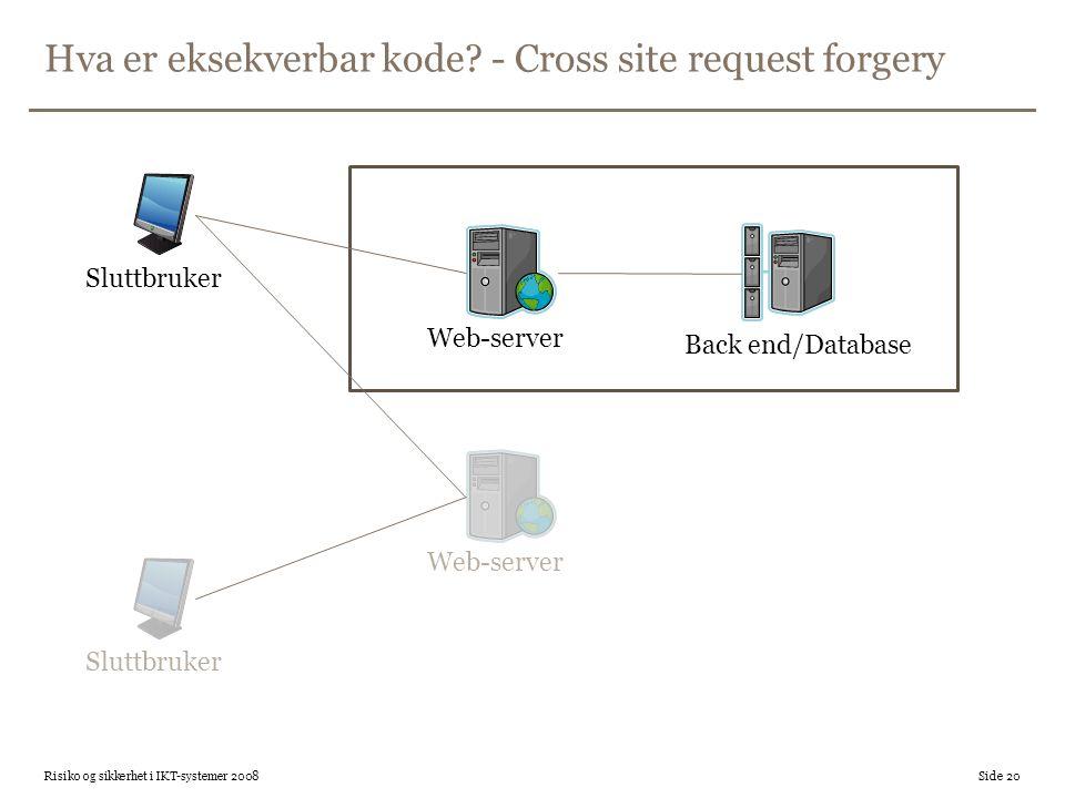 Hva er eksekverbar kode - Cross site request forgery