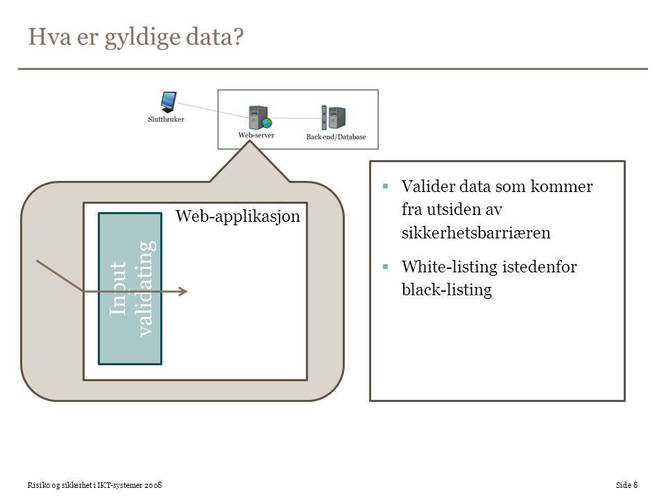 Hva er gyldige data Input validating