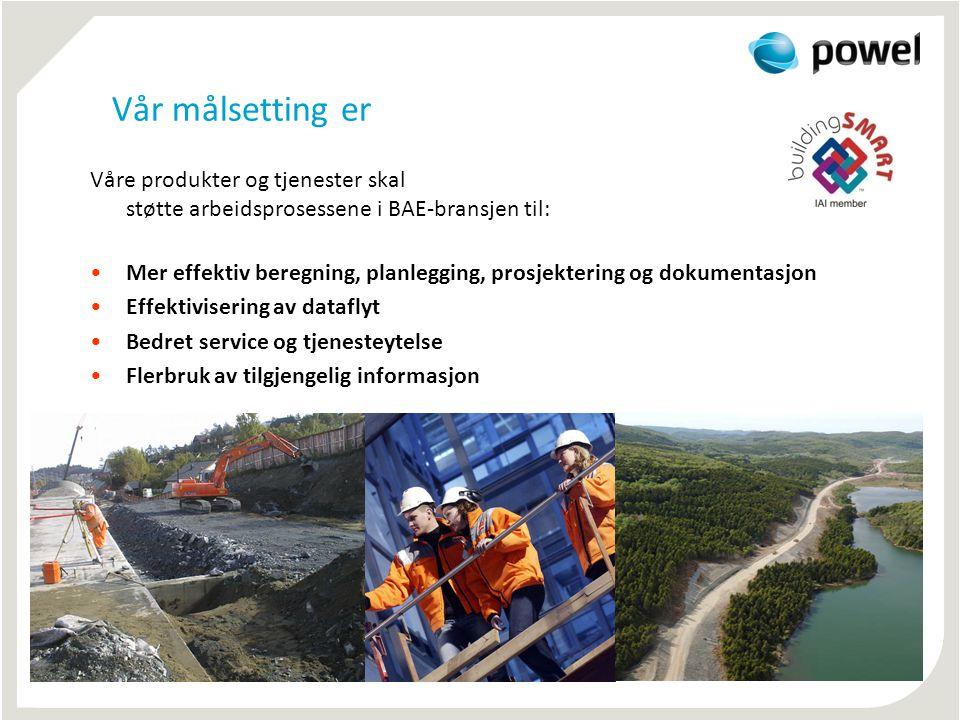 Vår målsetting er Våre produkter og tjenester skal støtte arbeidsprosessene i BAE-bransjen til: