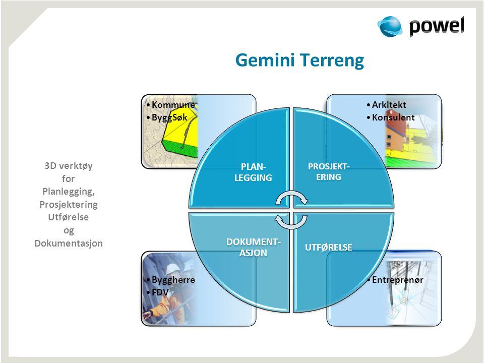 Gemini Terreng 3D verktøy for Planlegging, Prosjektering Utførelse og