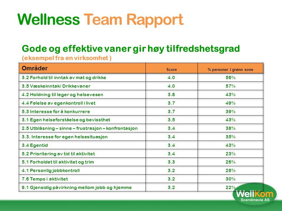 Wellness Team Rapport Gode og effektive vaner gir høy tilfredshetsgrad