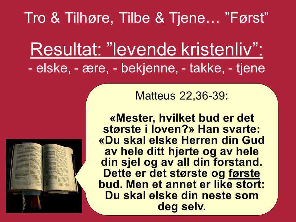 Tro & Tilhøre, Tilbe & Tjene… Først Resultat: levende kristenliv : - elske, - ære, - bekjenne, - takke, - tjene