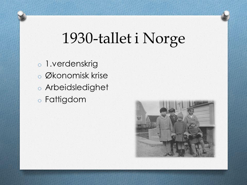 1930-tallet i Norge 1.verdenskrig Økonomisk krise Arbeidsledighet