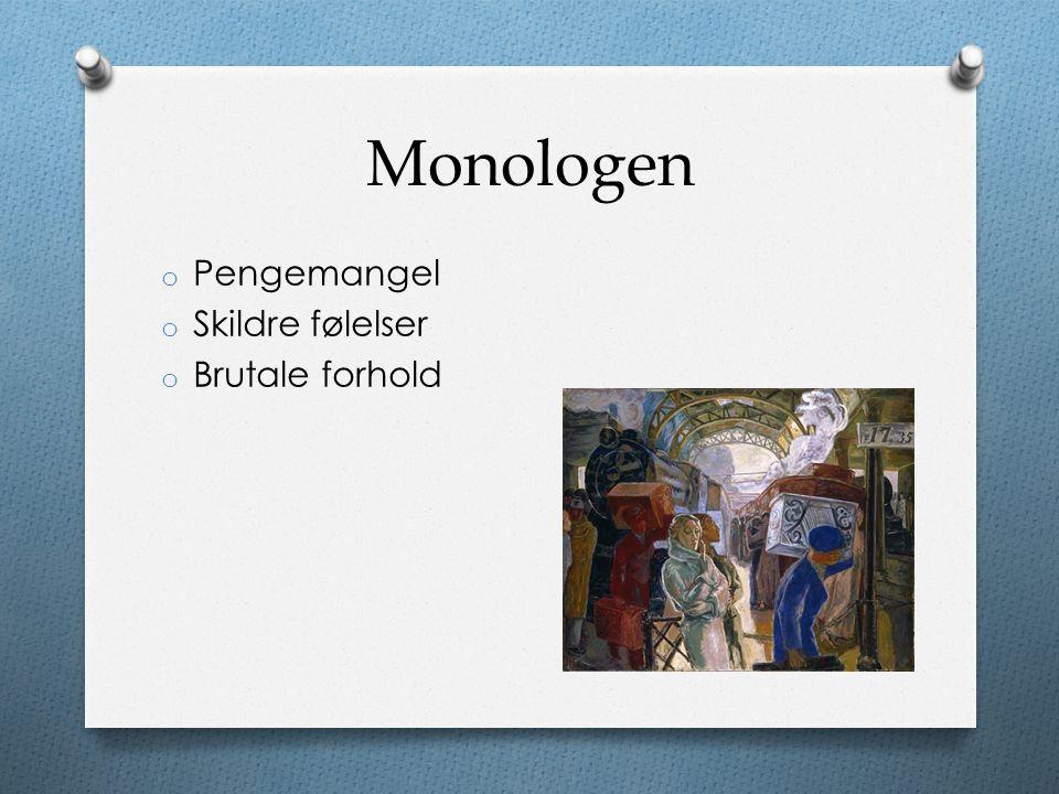 Monologen Pengemangel Skildre følelser Brutale forhold