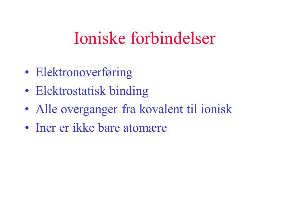 Ioniske forbindelser Elektronoverføring Elektrostatisk binding