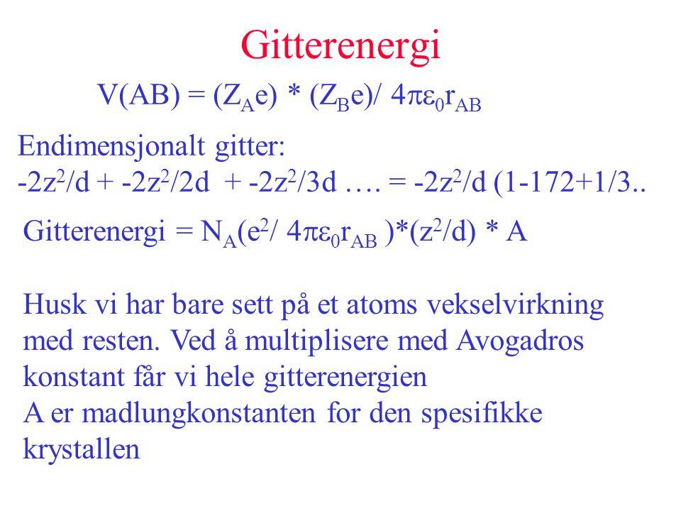 Gitterenergi V(AB) = (ZAe) * (ZBe)/ 4pe0rAB Endimensjonalt gitter: