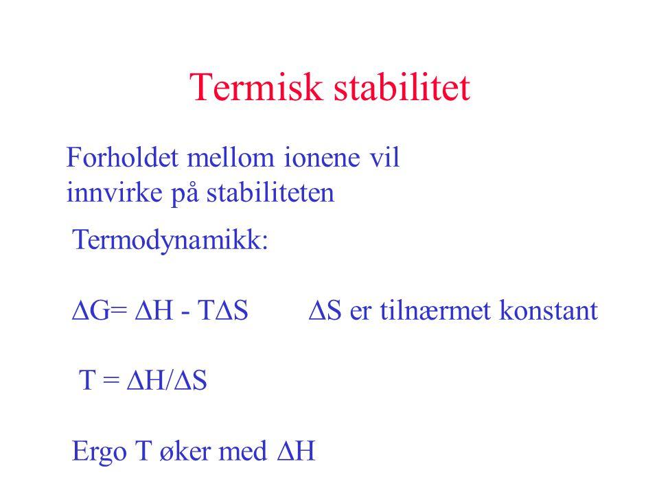 Termisk stabilitet Forholdet mellom ionene vil