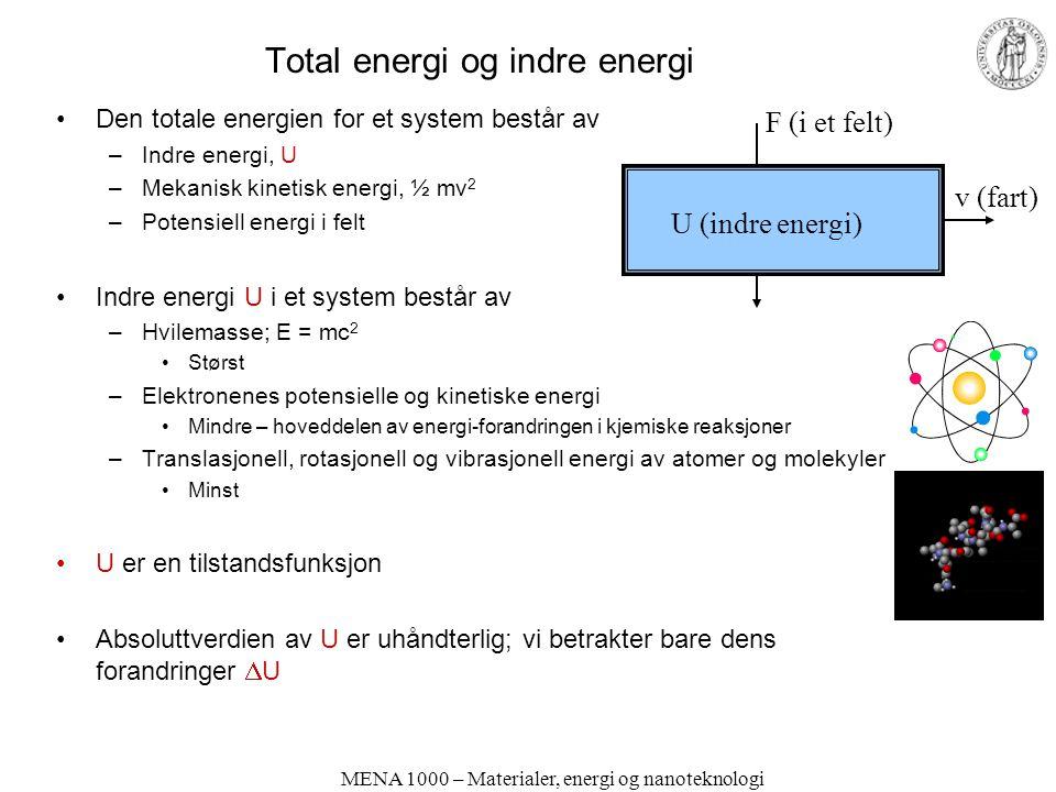 Total energi og indre energi