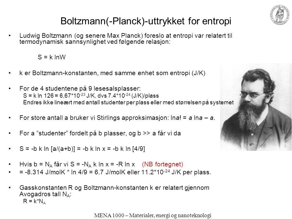 Boltzmann(-Planck)-uttrykket for entropi