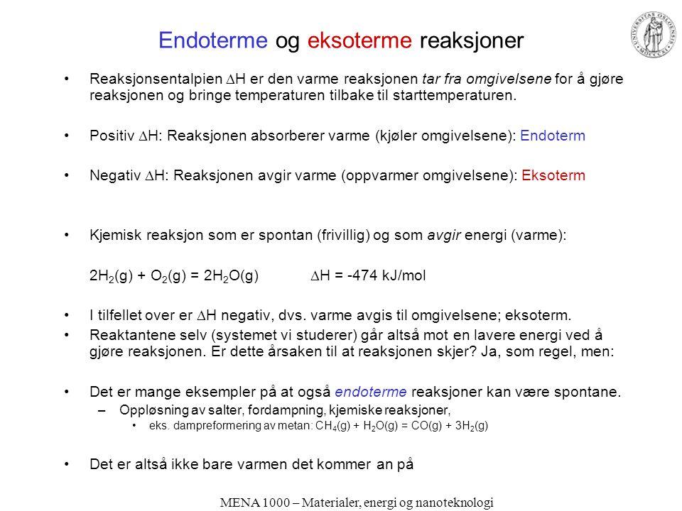 Endoterme og eksoterme reaksjoner