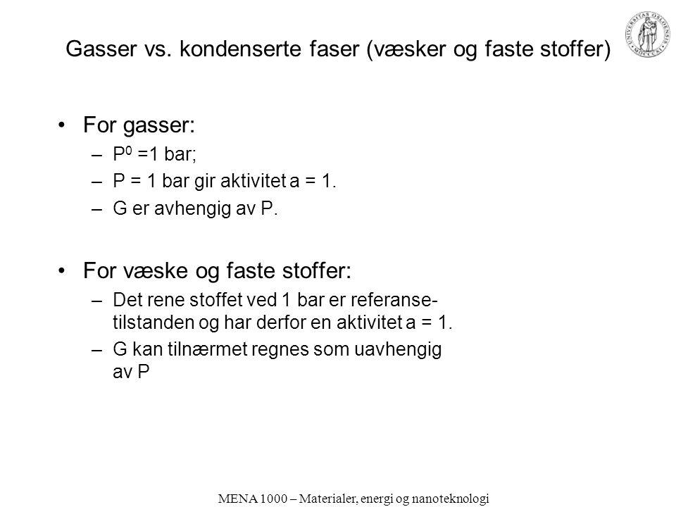Gasser vs. kondenserte faser (væsker og faste stoffer)