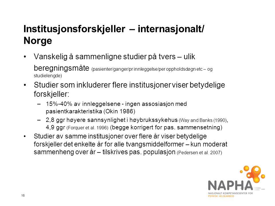 Institusjonsforskjeller – internasjonalt/ Norge
