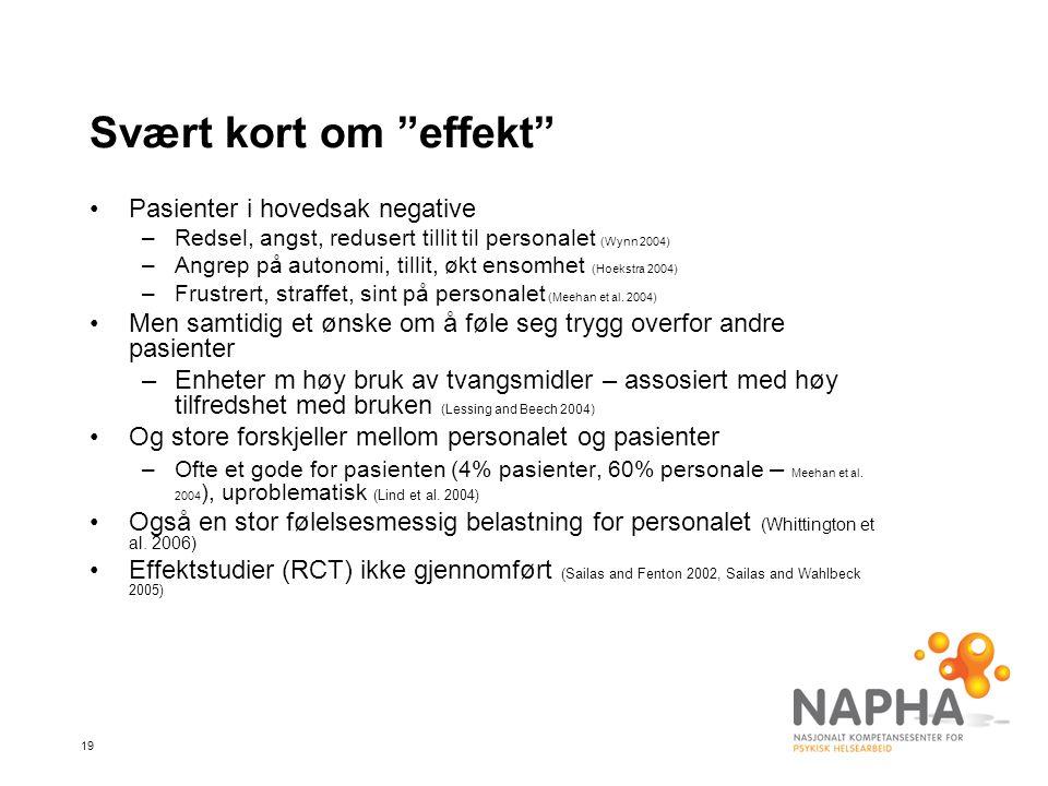 Svært kort om effekt Pasienter i hovedsak negative