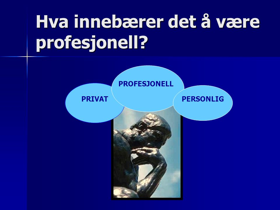 Hva innebærer det å være profesjonell