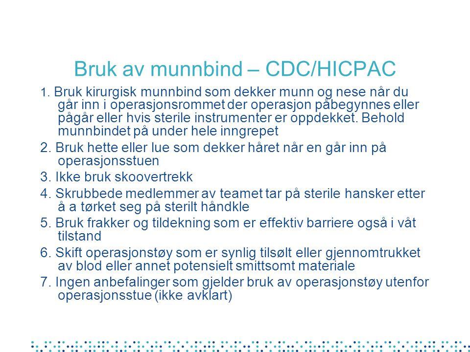Bruk av munnbind – CDC/HICPAC