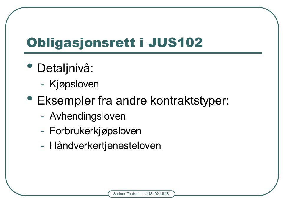 Obligasjonsrett i JUS102 Detaljnivå: