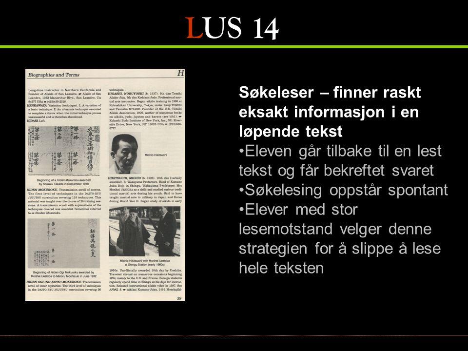 LUS 14 Søkeleser – finner raskt eksakt informasjon i en løpende tekst