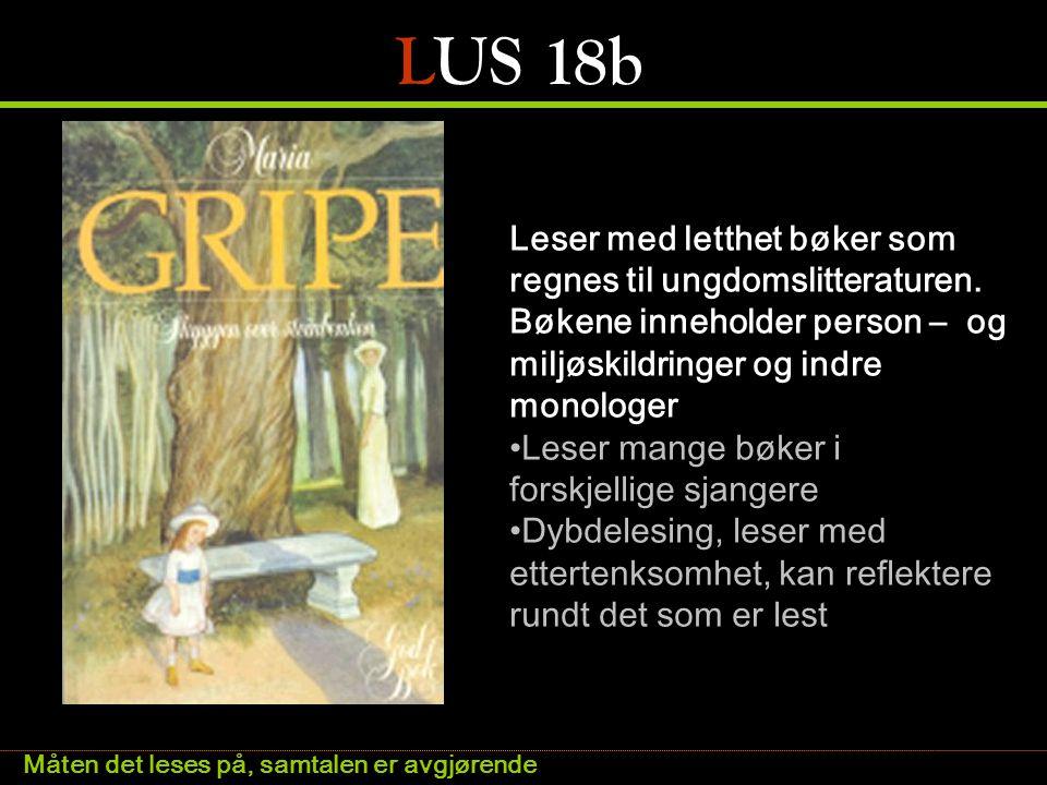LUS 18b Leser med letthet bøker som regnes til ungdomslitteraturen. Bøkene inneholder person – og miljøskildringer og indre monologer.