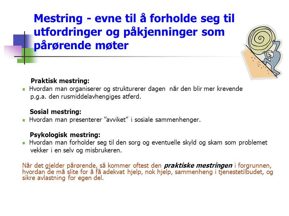 Mestring - evne til å forholde seg til utfordringer og påkjenninger som pårørende møter