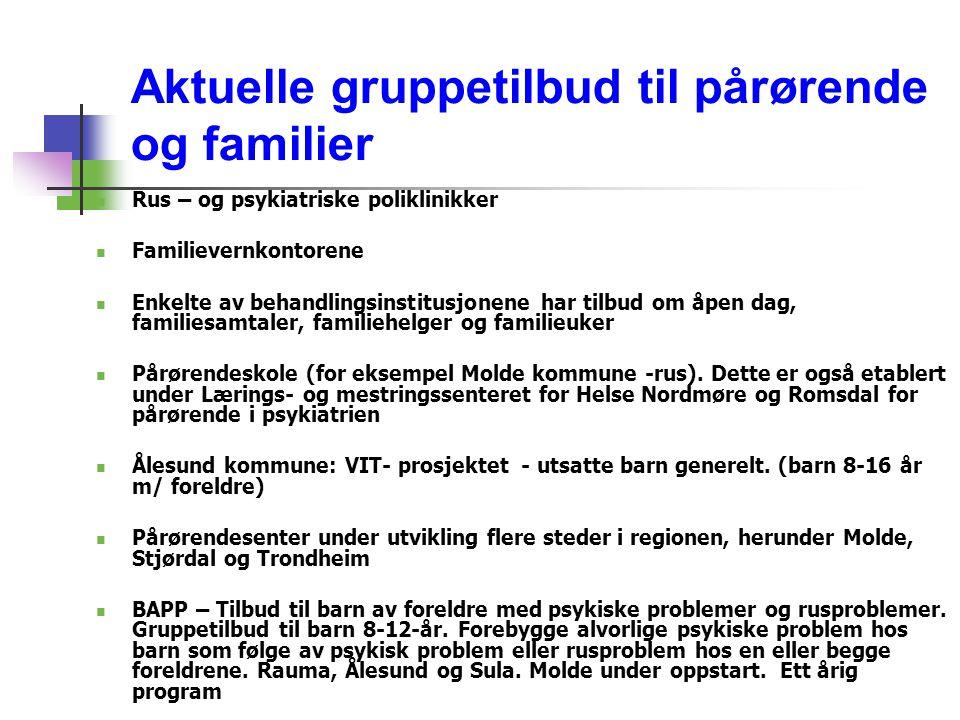 Aktuelle gruppetilbud til pårørende og familier